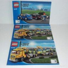 Juguetes antiguos: LEGO CITY 60060 LOTE CATALOGO INSTRUCCIONES MONTAJE CAMION TRAILER COCHES. Lote 118542931