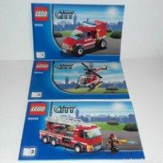 Juguetes antiguos: LEGO CITY 60004 LOTE CATALOGO INSTRUCCIONES MONTAJE BOMBEROS. Lote 118543371