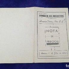 Giocattoli antichi: ANTIGUO CATALOGO DE FABRICA DE JUGUETES ANTONIO OTERO, MANIÑOS, LA CORUÑA, AÑO 1942. Lote 120620783
