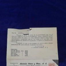 Giocattoli antichi: ANTIGUA CARTA COMERCIAL FABRICA DE JUGUETES ANTONIO OTERO, MANIÑOS-LA CORUÑA, AÑOS 40. Lote 120622047