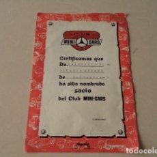 Juguetes antiguos: MINI CARS ANGUPLAS - CERTIFICADO DE SOCIO. Lote 126659571