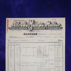Juguetes antiguos: ANTIGUA FACTURA FABRICA JUGUETES, PANDERETAS,ETC ALFREDO MOMPO MULLOR, ALACUAS-VALENCIA,19. Lote 128658323