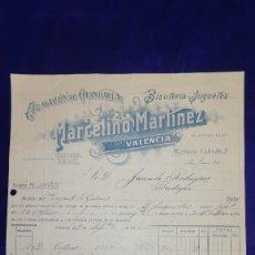 Juguetes antiguos: ANTIGUA FACTURA ALMACEN DE QUINCALLA ,BISUTERIA YJUGUETES MARCELINO MARTINEZ , VALENCIA, AÑO 1921. Lote 128659111