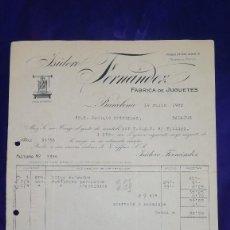 Juguetes antiguos: ANTIGUA FACTURA FABRICA DE JUGUETES ISIDORO FERNANDEZ, BARCELONA, AÑO 1922. Lote 128662215