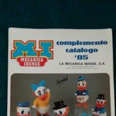 Juguetes antiguos: CATALOGO LA MECANICA IBENSE 1985 MÁS DOS HOJAS ANEXAS. Lote 141887106