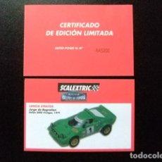 Juguetes antiguos: SCALEXTRIC FICHA LANCIA STRATOS RALLYES DE ESPAÑA. Lote 144569438