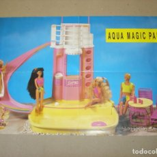 Juguetes antiguos: CLUB DE BARBIE: POSTER ORIGINAL (42X28,5) AQUA MAGIC PARK - AÑO 1990. Lote 145598526
