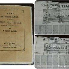 Juguetes antiguos: MARTÍNEZ, GREGORIO: ARTE DE APRENDER Y JUGAR EL NOBLE JUEGO DEL VILLAR. (BILLAR) MÁLAGA 1864. LIBRER. Lote 147985290