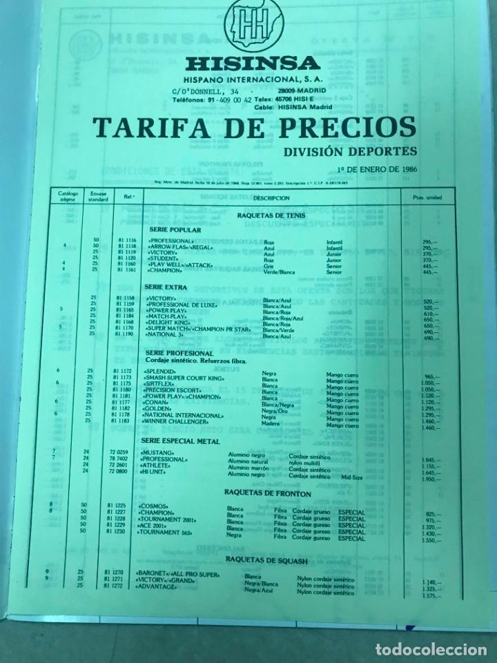 Juguetes antiguos: CATALOGO DEPORTES HISINSA HISPANO INTERNACIONAL, CON TARIFA DE PRECIOS DIV. DEPORTES 1986, VER FOTOS - Foto 2 - 151711670