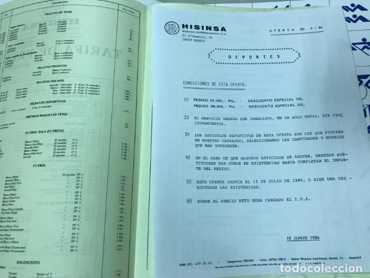 Juguetes antiguos: CATALOGO DEPORTES HISINSA HISPANO INTERNACIONAL, CON TARIFA DE PRECIOS DIV. DEPORTES 1986, VER FOTOS - Foto 3 - 151711670