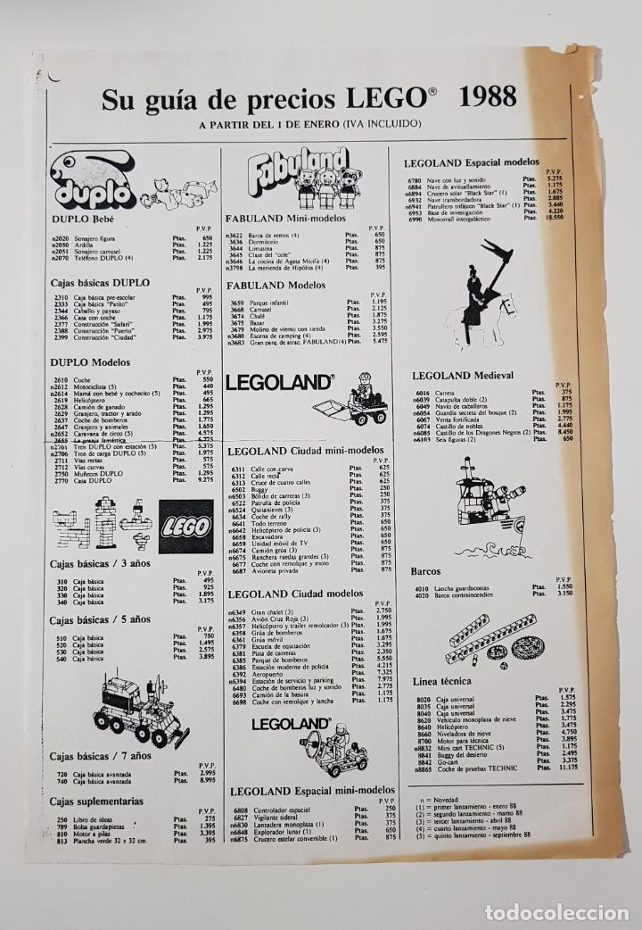 CATÁLOGO JUGUETES - LEGO TARIFA PRECIOS 1988 (Juguetes - Catálogos y Revistas de Juguetes)