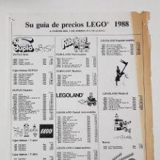 Juguetes antiguos: CATÁLOGO JUGUETES - LEGO TARIFA PRECIOS 1988. Lote 156770662