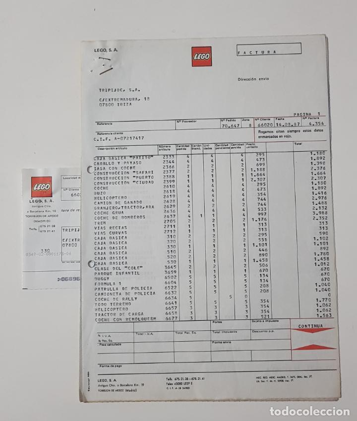 COLECCIONISMO JUGUETES - FACTURA LEGO AGOSTO 1987 + ALBARÁN + RECIBO (Juguetes - Catálogos y Revistas de Juguetes)
