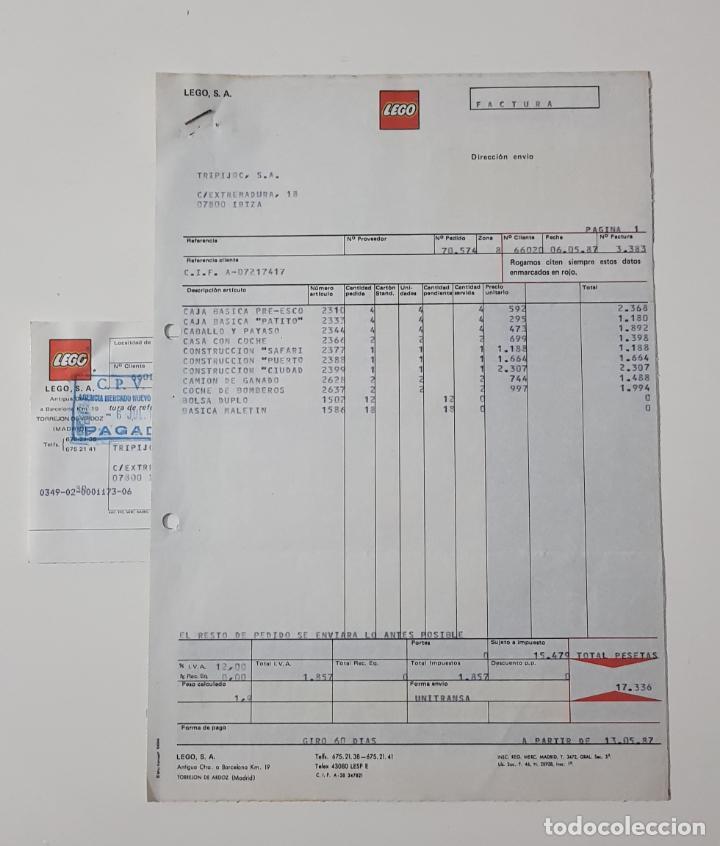 COLECCIONISMO JUGUETES - FACTURA LEGO MAYO 1987 + ALBARÁN + RECIBO (Juguetes - Catálogos y Revistas de Juguetes)