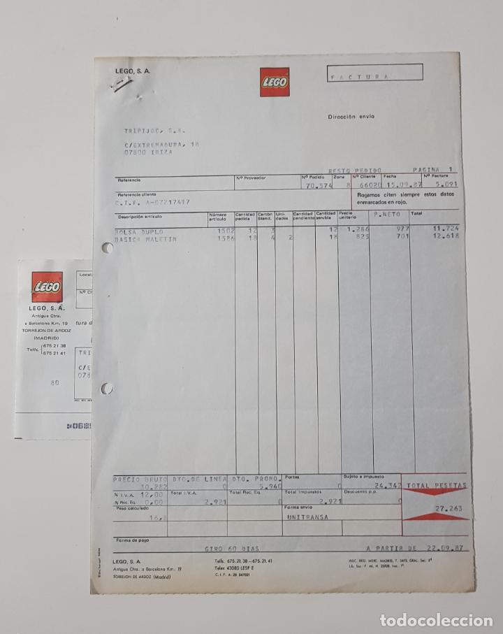 COLECCIONISMO JUGUETES - FACTURA LEGO SEPTIEMBRE 1987 + ALBARÁN + RECIBO (Juguetes - Catálogos y Revistas de Juguetes)