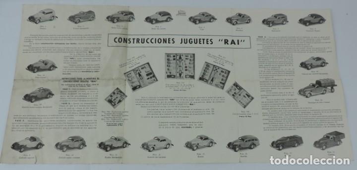 CATÁLOGO AUTOMÓVILES CONSTRUÍDOS TALLERES RAI JUGUETES PAYÁ, DESPLEGABLE CON PRECIOS, MEDIDAS DESPLE (Juguetes - Catálogos y Revistas de Juguetes)