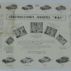 Juguetes antiguos: CATÁLOGO AUTOMÓVILES CONSTRUÍDOS TALLERES RAI JUGUETES PAYÁ, DESPLEGABLE CON PRECIOS, MEDIDAS DESPLE. Lote 165150666