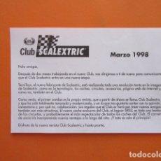 Juguetes antiguos: SCALEXTRIC FOLLETO CLUB 1998. Lote 173971148