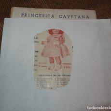 Juguetes antiguos: CATÁLOGO DE CAYETANA,PRINCESITA CAYETANA,PRECIOS,ENUMERACIÓN Y NOMBRE DE LOS CONJUNTOS,AÑO 1948. Lote 174356370
