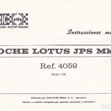 Juguetes antiguos: CATALOGO INSTRUCCIONES MANTENIMIENTO COCHE LOTUS JPS MK IV SCALEXTRIC EXIN . Lote 175478780