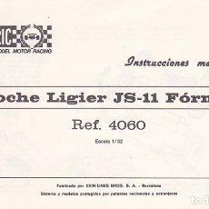 Juguetes antiguos: CATALOGO INSTRUCCIONES MANTENIMIENTO COCHE LIGIER JS-11 FORMULA 1 SCALEXTRIC EXIN . Lote 175478875
