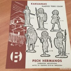 Juguetes antiguos: PECH HERMANOS KAKUANAS PLASTICO TODO COLOR HOJA CATALOGO (COIB35). Lote 179198475