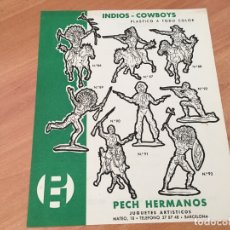Juguetes antiguos: PECH HERMANOS INDIOS - COWBOYS PLASTICO TODO COLOR HOJA CATALOGO (COIB35). Lote 179198537
