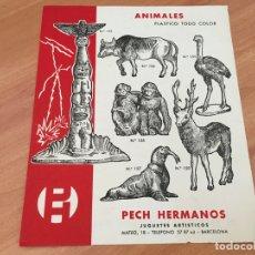 Juguetes antiguos: PECH HERMANOS ANIMALES 8 PLASTICO TODO COLOR HOJA CATALOGO (COIB35). Lote 179198792