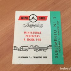 Juguetes antiguos: CATALOGO MINI CARS ANGUPLAS MINIATURAS PERFECTAS SUPLEMENTO Nº 2 1959 (COIB36). Lote 180508893