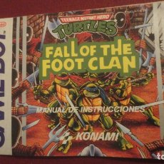 Juguetes antiguos: MANUAL INSTRUCCIONES.FALL OF THE FOOT CLAN.TEENAGE MUTANT HERO.TURTLES.GAME BOY.NINTENDO.KONAMI 1991. Lote 182845845