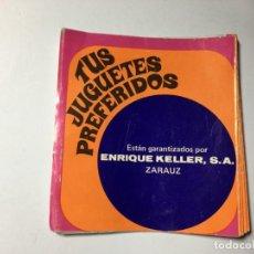 Juguetes antiguos: CATALOGO TUS JUGUETES PREFERIDOS PISTAS JOUEF MUSICALES COCHES CABRIOLA ENRIQUE KELLER ZARAUZ. Lote 193029285