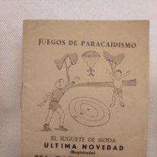 Juguetes antiguos: GOS DE PARACAIDISMO. JUGUETE DE MODA EL PARACAIDISTA. CREACIONES LAFREDO. NORMAS GENERALES. Lote 194239483