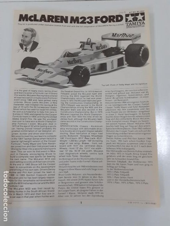 MCLAREN M23 FORD/ TAMIYA (999) (Juguetes - Catálogos y Revistas de Juguetes)