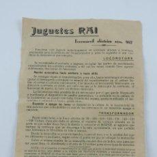 Juguetes antiguos: INSTRUCCIONES DE JUGUETES RAI, FERROCARRIL ELECTRICO NUM. 987, MIDE 21,5 X 15,5 CMS.. Lote 195182252