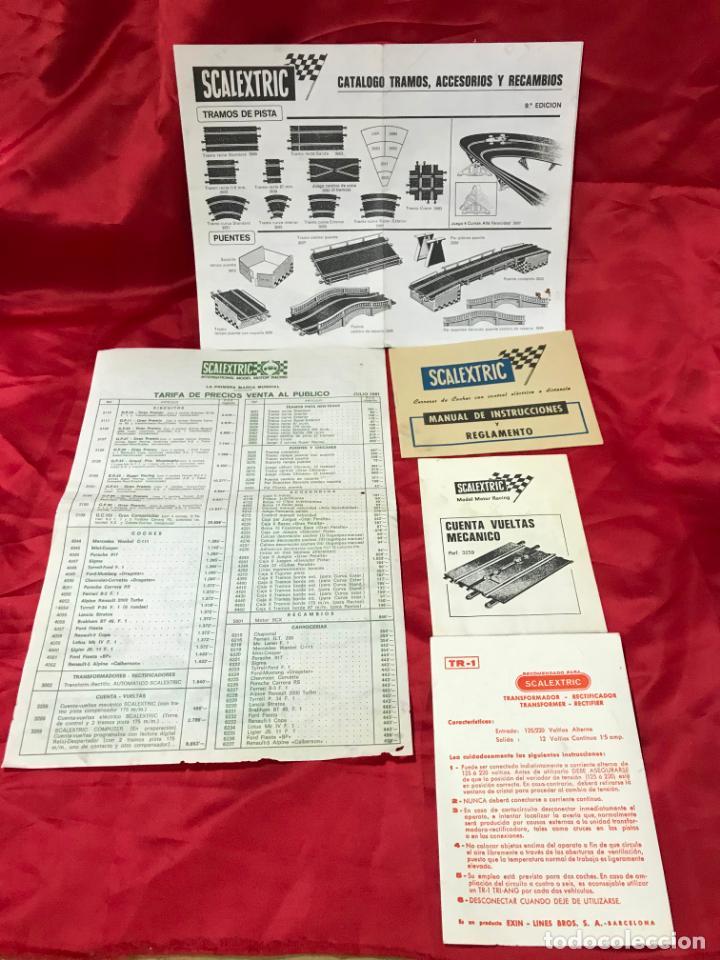 CATALOGO ACCESORIOS SCALEXTRIC, RECAMBIOS, TARIFA DE PRECIOS JULIO 1981, MANUAL INSTRUCCIONES Y OTRO (Juguetes - Catálogos y Revistas de Juguetes)
