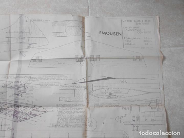 Juguetes antiguos: ANTIGUO PLANO MODELHOB REGISTRO 2348 AVION SMOUSEN ACROBACIA Y COMBATE AEROMODELISMO - Foto 3 - 195375910