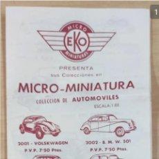 Juguetes antiguos: CATÁLOGO MICRO-MINIATURAS, CON TARIFAS MICRO MINIATURA EKO COCHES, AVIONES, TANQUES. AÑOS 60. Lote 205016996