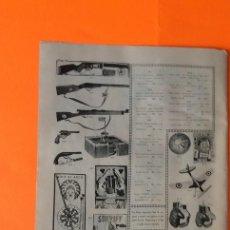 Juguetes antiguos: HOJA PUBLICIDAD FUSIL MAUSER, WINCHESTER, FUERTE AMERICANO, FUTBOLIN. Lote 206127075