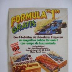 Juguetes antiguos: CARTEL CARTÓN ( 40 X 29 CM ) CHOCOLATES EZQUERRA PROMOCIÓN BÓLIDOS FORMULA 1 AÑO 1979. Lote 220555273