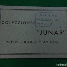 Juguetes antiguos: ESPECIE DE RELACIÓN / CATALOGO. COLECCIONES JUNAR. SOBRE BARCOS Y AVIONES. 1946.. Lote 218264222