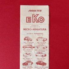 Brinquedos antigos: EKO - JUGUETES - MICRO MINIATURAS - FOLLETO TRÍPTICO - TARIFAS, 1963 - ORIGINAL - DIFÍCIL. Lote 222112242