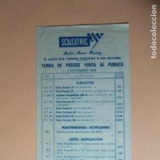 Juguetes antiguos: SCALEXTRIC. DIPTICO TARIFA DE PRECIOS. 5 NOVIEMBRE 1968. ORIGINAL Y PERFECTO. VER DESCRIPCION.. Lote 228667405