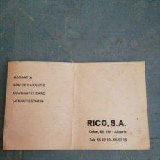 Juguetes antiguos: GARANTIA, DE LA CASA RICO. Lote 245021900