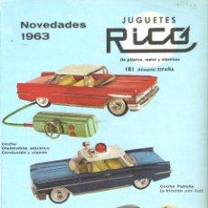 Brinquedos antigos: JUGUETES RICO. IBI, ALICANTE. ANUNCIO AÑO 63 - 22 X 30 CMS - VELL I BELL. Lote 262954295