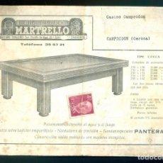 Juguetes antiguos: NUMULITE *3 BILLARES JUEGOS DEPORTES MARTELLO CASINO CAMPRODON FOLLETO CON MODELOS DE BILLAR. Lote 287812938