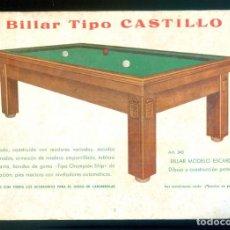 Juguetes antiguos: NUMULITE *3 BILLAR TIPO CASTILLO FOLLETO CON MODELOS DE BILLARES. Lote 287813158
