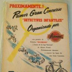 Brinquedos antigos: RECORTE PUBLICIDAD JUGUETES ARGENTINA CONCURSO DETECTIVES INFANTILES RICHMOND. Lote 288666538