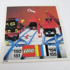 Juguetes antiguos: MINI CATÁLOGO INSTRUCCIONES LEGO 150-151-154 Y 155 VÍAS DE TREN. Lote 297376123