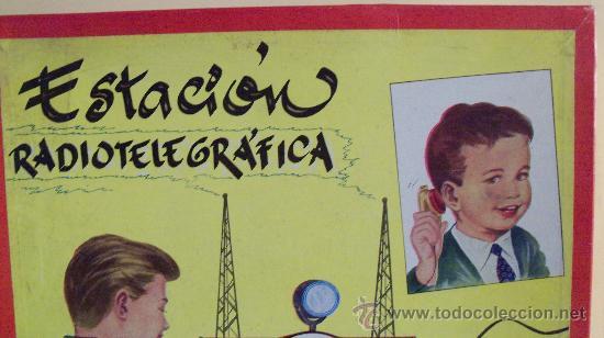 Juguetes antiguos Exin: Exin Juguete.Juego Exin. Estación Radiotelegráfica. Dibujos de Sabatés. - Foto 2 - 34354909