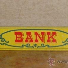 Juguetes antiguos Exin: LETRERO EXIN WEST OESTE BANK BANCO. Lote 38223347